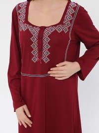 Maroon - Sweatheart Neckline - Nightdress