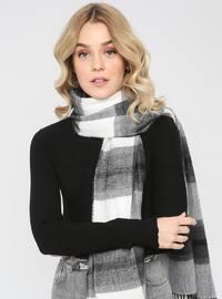 Acrylic - Wool Blend - White - Black - Plain - Fringe - Shawl Wrap