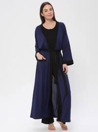 Navy Blue - Navy Blue - Viscose - Morning Robe