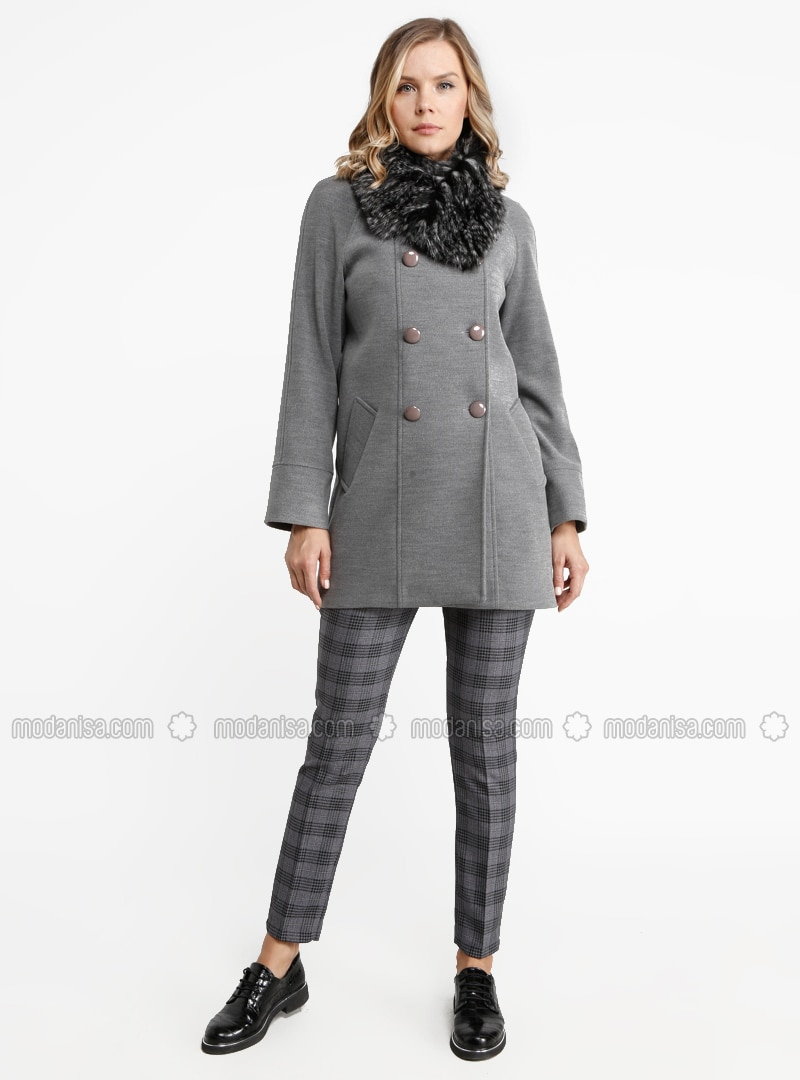 Gray - Fully Lined - Crew neck - Viscose - Coat