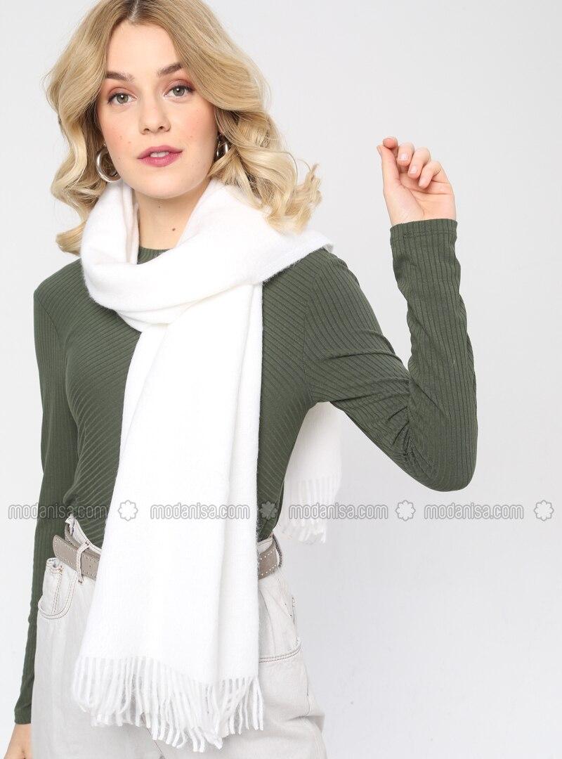 Acrylic - Wool Blend - Black - Plain - Fringe - Shawl Wrap