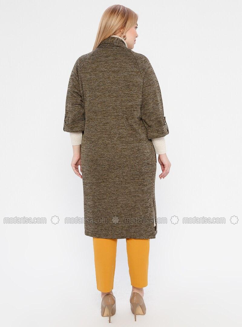 Khaki Shawl Collar Acrylic Plus Size Cardigan