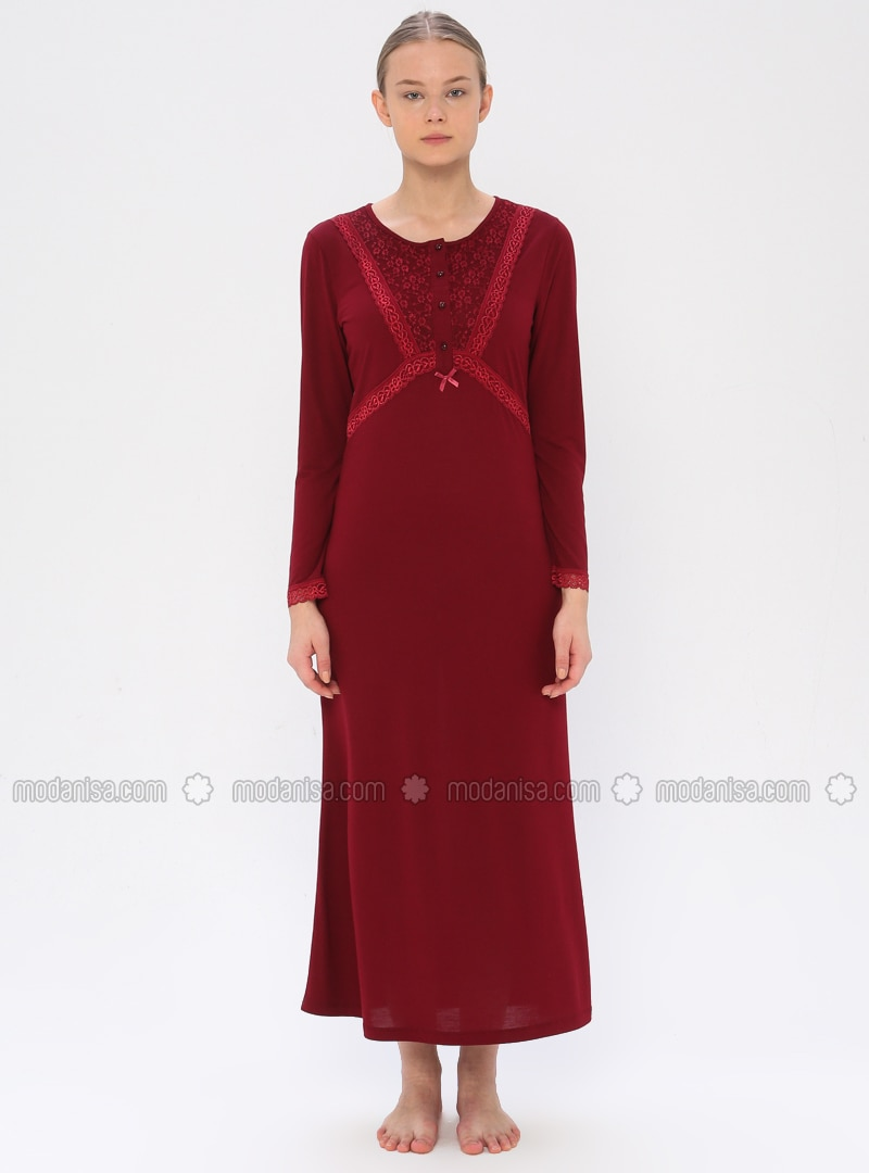 Maroon - Crew neck - Viscose - Nightdress