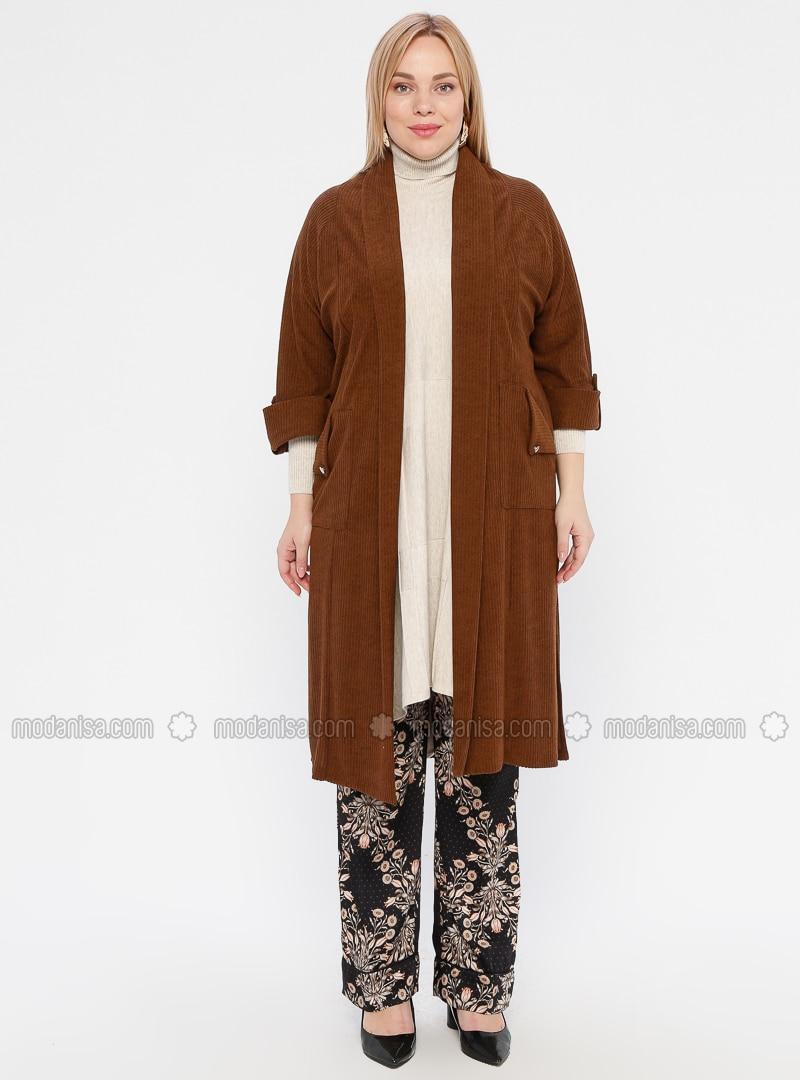 Brown Shawl Collar Plus Size Cardigan