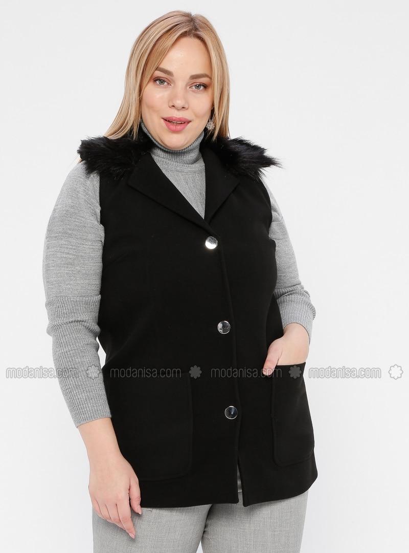 Black - Shawl Collar - Plus Size Vest