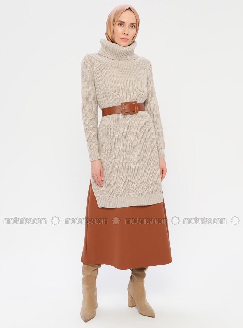 Beige - Polo neck - Unlined - Knit Tunics