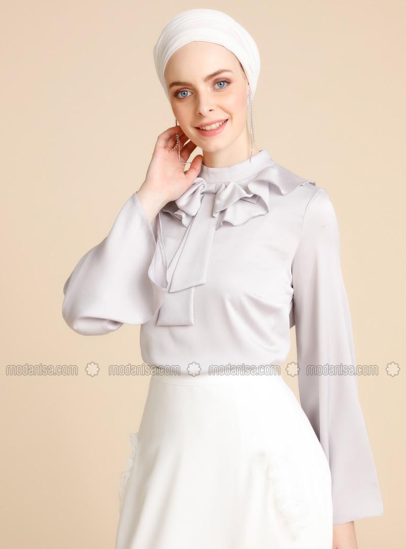 Gray - Polo neck - Blouses