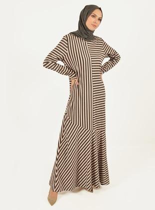 Anthracite - Stripe - Crew neck - Viscose - Dress