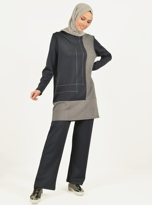 Gray - Navy Blue - Viscose - Pants