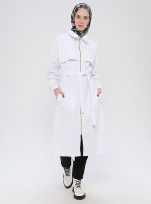 White - White - Ecru - Unlined - Point Collar -  - Trench Coat