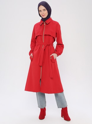 Red - Red - Unlined - Point Collar - - Trench Coat