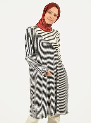 White - Navy Blue - Stripe -  - Viscose - Tunic