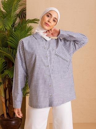 Navy Blue - Stripe - Point Collar - - Tunic