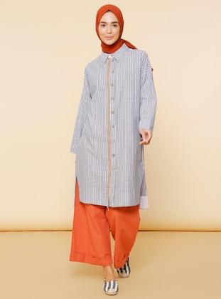Navy Blue - Stripe - Point Collar - - Abaya