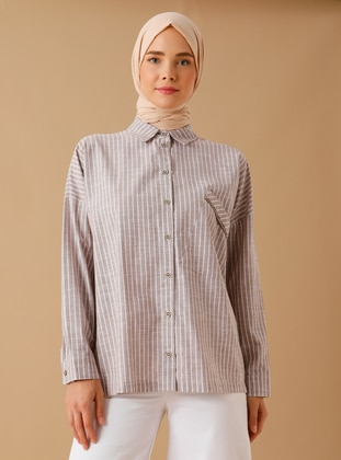 Mink - Stripe - Point Collar -  - Tunic