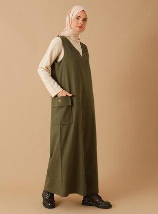 Khaki - Stripe - V neck Collar - Unlined -  - Dress