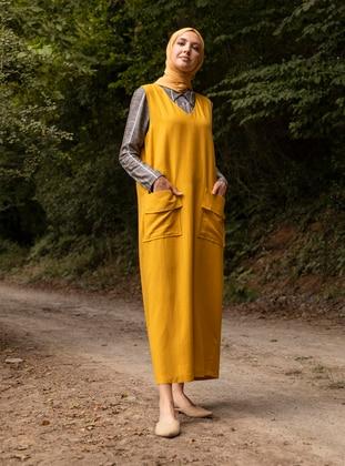 Yellow - V neck Collar - Unlined -  - Dress