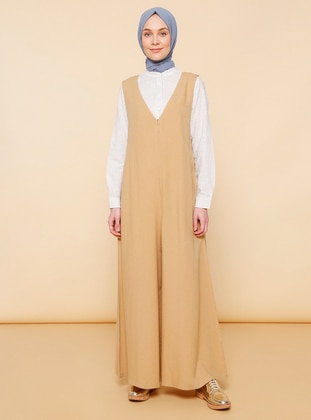 Mink - V neck Collar - Unlined -  - Viscose - Dress - Mnatural