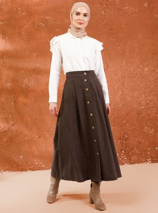 Brown - Unlined - Acrylic -  - Skirt