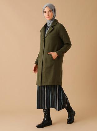 Khaki - Unlined - Shawl Collar - Acrylic -  - Coat