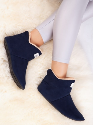 Boot - Navy Blue - Home Shoes - Ayakkabı Havuzu