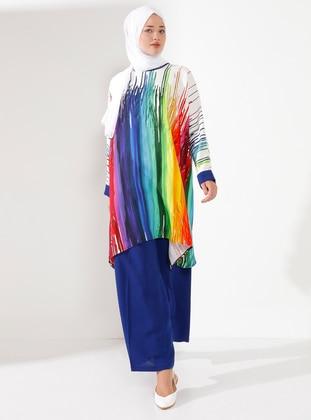 Ecru - Crew neck - Unlined - Plus Size Suit