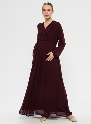 Plum - V neck Collar - Fully Lined - Maternity Dress - Havva Ana