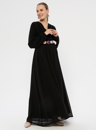 Black - V neck Collar - Fully Lined - Maternity Dress