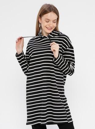 - Stripe - White - Black - Sweat-shirt