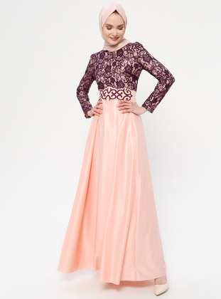 Pink - Salmon - Fully Lined - Crew neck - Muslim Evening Dress