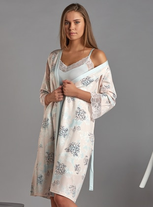 Ecru - Viscose - Morning Robe - Sevim