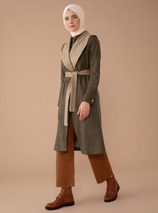 Green - Unlined - Shawl Collar -  - Vest