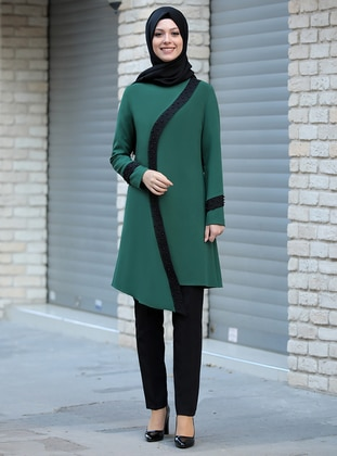 Green - Unlined - Crepe - Suit