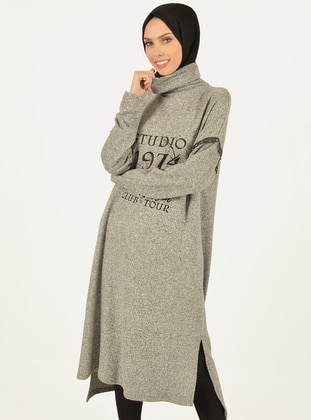 Gray - Polo neck -  - Viscose - Tunic