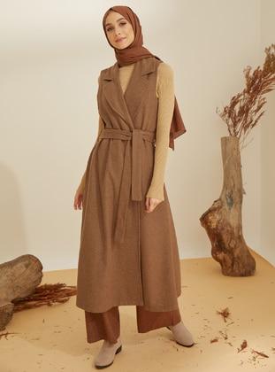 Brown - Shawl Collar - Acrylic -  -  - Vest