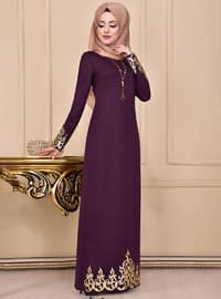 Purple - Crew neck - Unlined - Dress