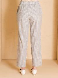 Khaki - Stripe - - Pants