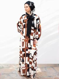 Cream - Black - Fully Lined - Shawl Collar - Plus Size Dress