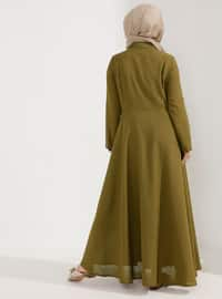 Khaki - Fully Lined - Point Collar - Plus Size Dress