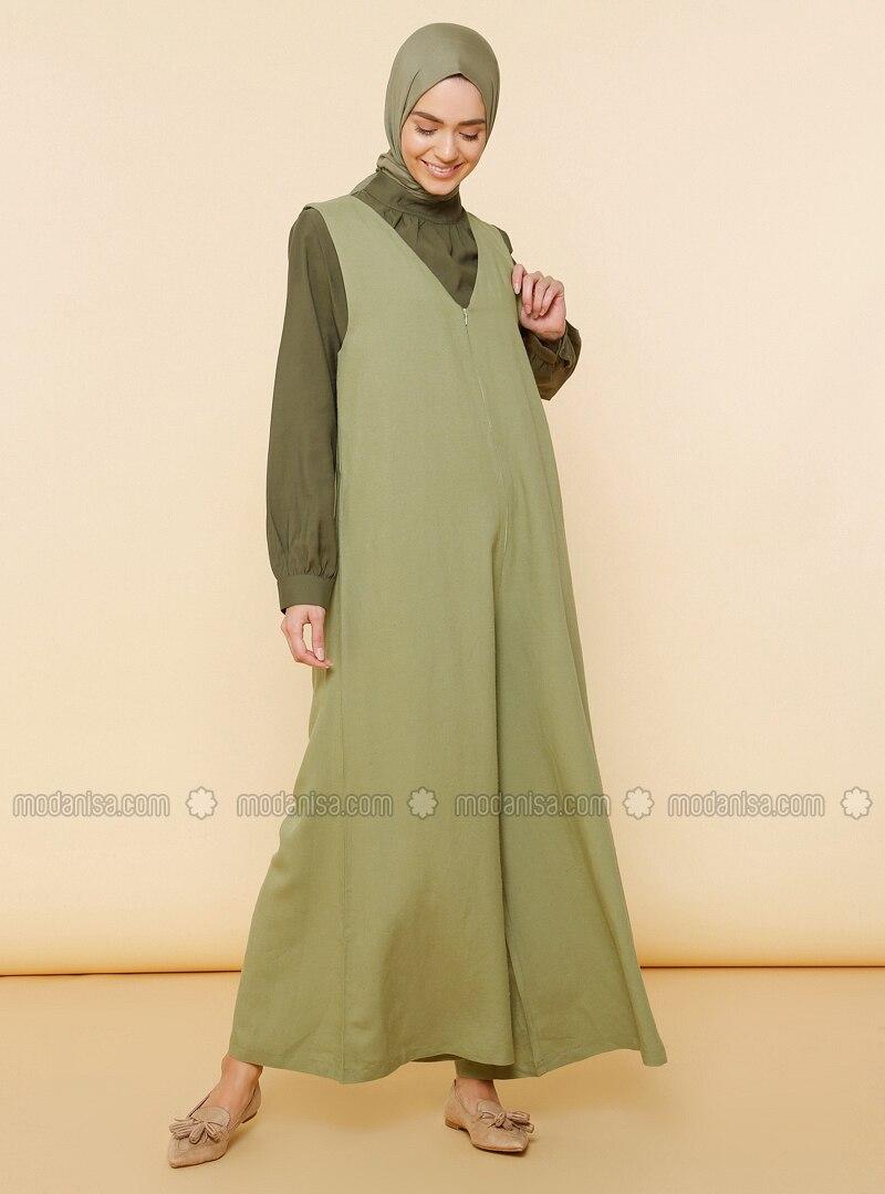 Green Almond - V neck Collar - Unlined -  - Viscose - Dress