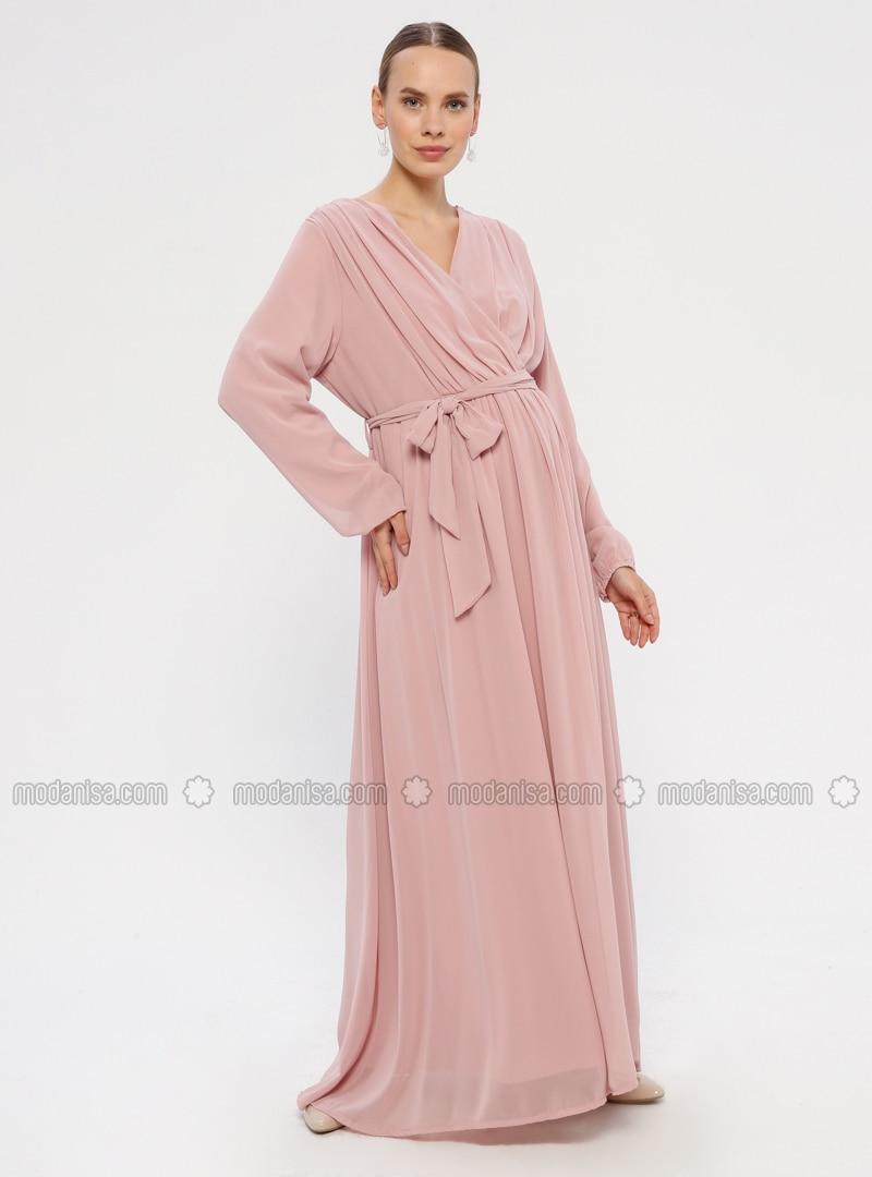 Powder - V neck Collar - Fully Lined - Maternity Dress
