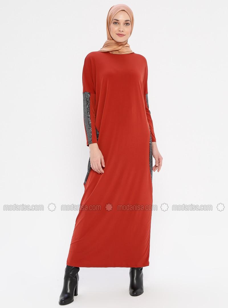 Terra Cotta - Crew neck - Unlined - Viscose - Dress
