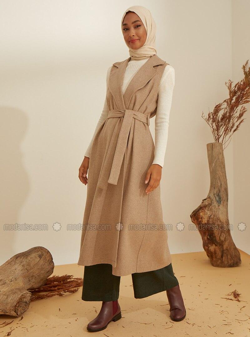 Mink - Shawl Collar - Acrylic -  -  - Vest