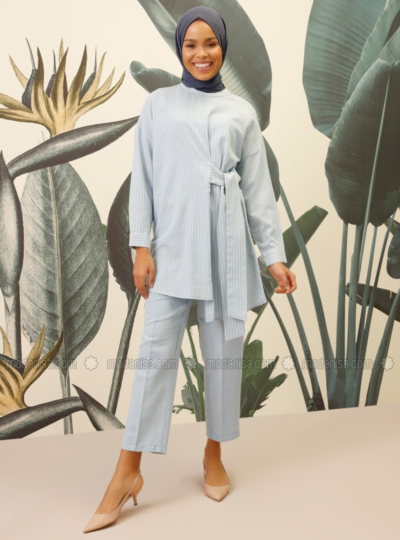 Blue - Stripe - Unlined - Viscose - Suit