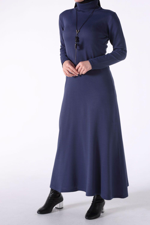 Tesettür Büyük Beden Triko Elbise Allday Lacivert Kadın Standart