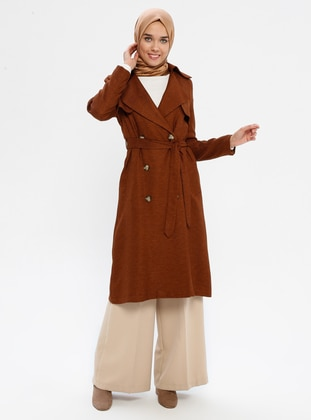 Cinnamon - Fully Lined - Shawl Collar - Trench Coat