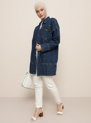 Blue - Unlined - Point Collar - Denim - Cotton -  - Jacket - Refka