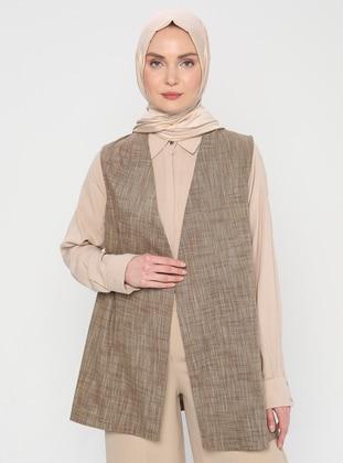Brown - Fully Lined - V neck Collar - Vest