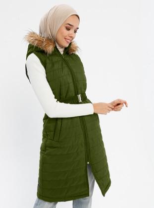 Khaki - Khaki - Fully Lined - Polo neck - Vest