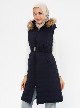 Navy Blue - Fully Lined - Polo neck - Vest